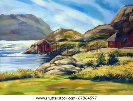 painting of island coast