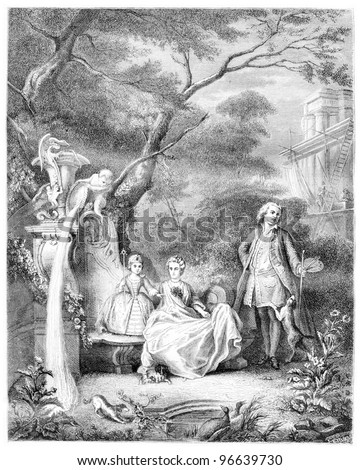 Painting of Lajoue and his family, Museum of Versailles, vintage engraved illustration. From the Magasin Pittoresque published in 1867.