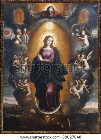 Painting of Our Lady Immaculate With God, Angels and landscape- Sicily - seventeenth century