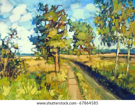 painting of path and trees