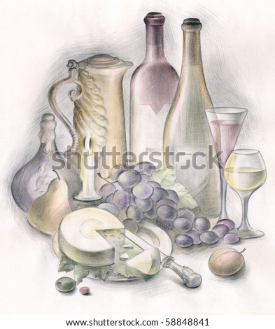 Painting of served table in restaurant over white background
