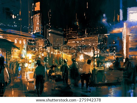 painting of shopping street city with colorful light,illustration