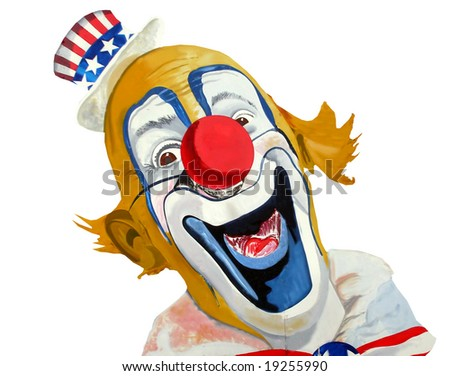 Painting of smiling patriotic American clown, Uncle Sam.
