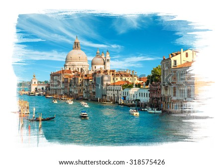 Painting of the Grand Canal and Basilica Santa Maria della Salute in the late evening, Venice, Italy #318575426