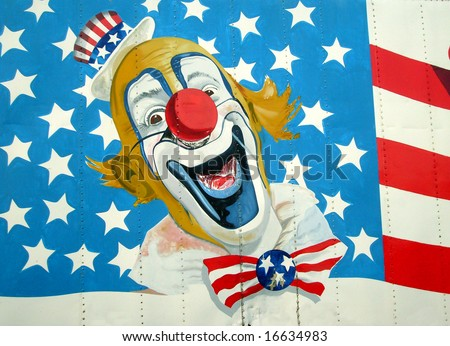 Painting of Uncle Sam on American Stars and Stripes flag. - stock photo