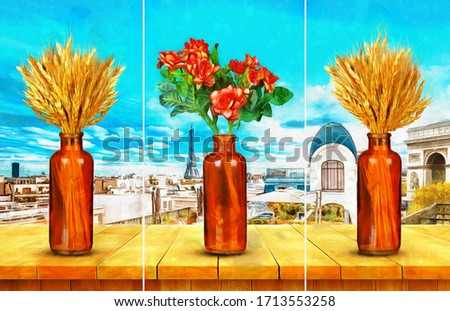 painting of vase of flower with Paris view & Eiffel tower in Paris, spring season. Decoration for the interior. Modern abstract art on canvas. collection of painting in designer set. Wheat, bottle
