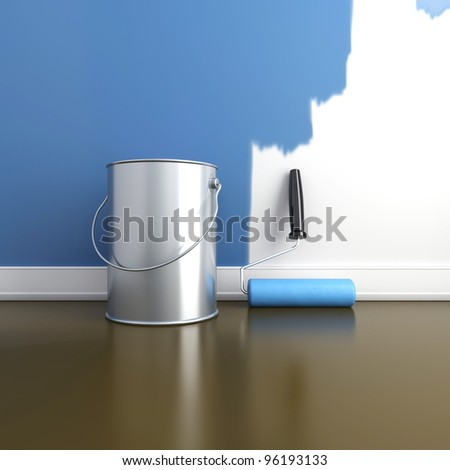 Painting of walls in a blue color. Repair in a house. 3d render