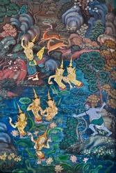 Painting of Wat Suthat in Bangkok, Thailand.