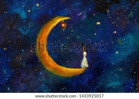 Painting oil - Girl on a big moon in space, illustration for fairy tale, fabulous worlds - modern art impressionism abstract landscape acrylic paint artwork