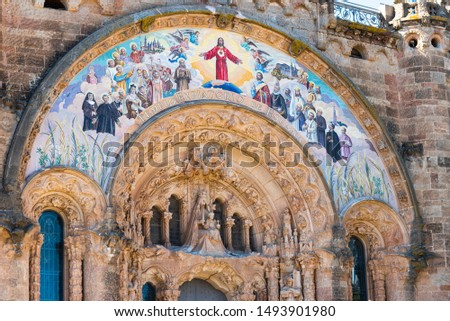 Painting on the Temple of the Sacred Heart of Jesus on Tibidabo mountain, Barcelona, Catalonia, Spain