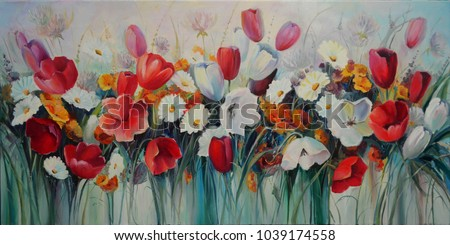 Painting painted with oil paints on canvas. Painting in the interior. Flower meadow. Bouquet of red, white tulips. Painted flowers.