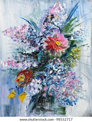 Painting picture of blooming spring Bouquet oil painted on canvas