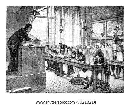 Painting Salon of 1874; paint. - A drawing lessons at school Cochin, by A. Truph?me. - The Drawing Hernault, vintage engraved illustration. Magasin Pittoresque 1875.