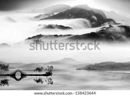 Painting style of chinese landscape for adv or others purpose use