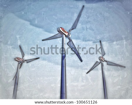 Painting-style representation of a wind plant, referring to notions such as green technologies, sustainable development, alternative energy sources as well as respect of the environment - stock photo