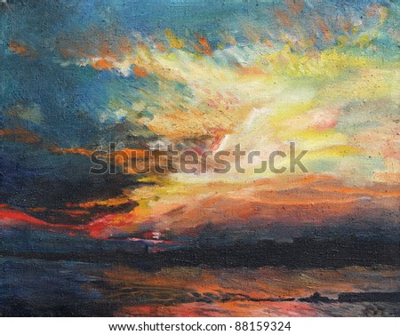 Painting, sunset on the Dnieper