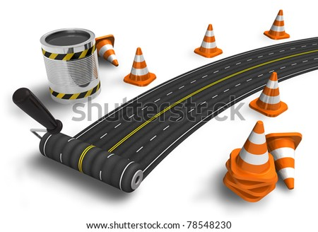 Painting the road with roller brush on white background - stock photo