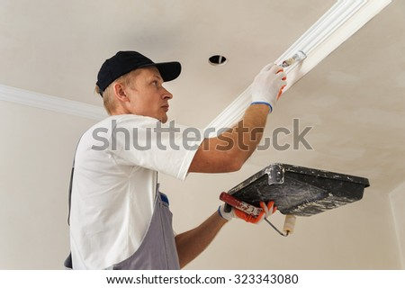 Painting walls and ceilings. Painter paints using a brush