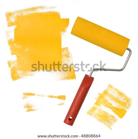 Painting with yellow paint