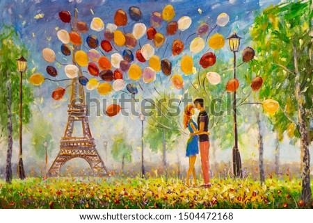 Painting Young couple in love enjoying Eiffel tower in paris. Lovers Boy and girl on grass with air balloons on Eiffel tower background illustration. Concept of love and happiness.