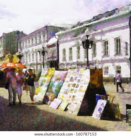 Paintings exhibition at Arbat street painting