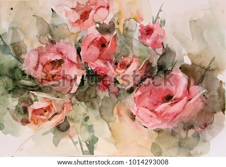 Paintings in watercolor depicting flowers, vases, fruit, kettle.Can be used for interior design, country home, bedrooms, hall, bathroom, kitchen.As well as illustration for books, magazines, web sites