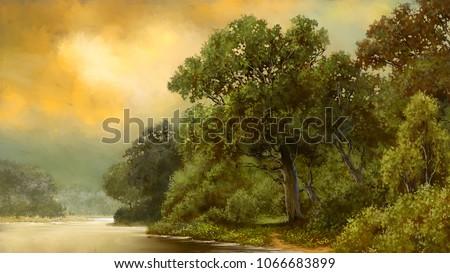 Paintings landscape, fine art, picture.