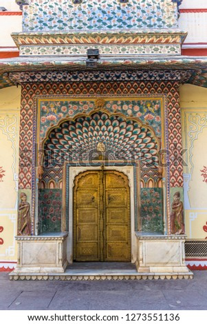 Mughal Wall Paintings At Jaipur City Palace Rajasthan India Free