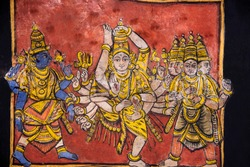 Paintings on the ceiling, Brihadishvara Temple, an UNESCO World Heritage Site known as the Great Living Chola Temples, Thanjavur, Tamil Nadu, India