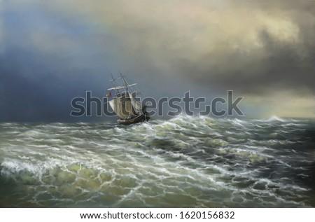 Paintings sea landscape, ship in the sea. Fine art.