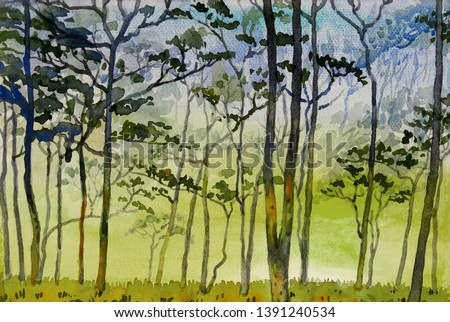 Paintings watercolor landscape original of conservation concept with tree mountain and meadow countryside. Hand painted illustration on paper