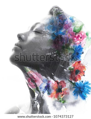Paintography. Double exposure black and white profile portrait of a young natural beauty with closed eyes, relaxing and softly tilting her head back as her face and hair combine with hand drawn ink  #1074373127