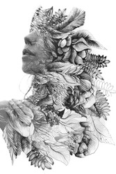 Paintography. Double exposure of woman's profile dissolving into hand drawn leaves, black and white