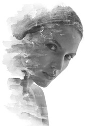 Paintography portrait of a young woman
