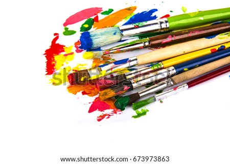 paints palette and paint brushes Zdjęcia stock ©