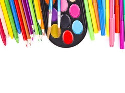 Paints, pencils and brushes