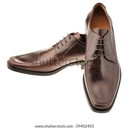 Pair a shoe a brown leather. Man's shoes isolated on a white background