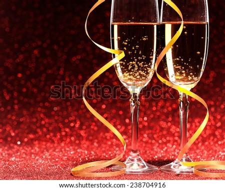 Pair glass of champagne studio shot valentine day concept