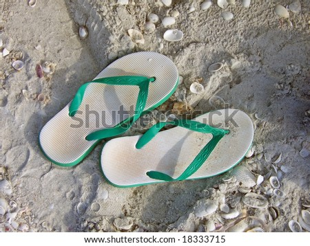 pair green plastic sandals on the beach