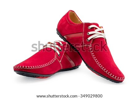 Pair leather red color male moccasins with shoelaces on a white background #349029800