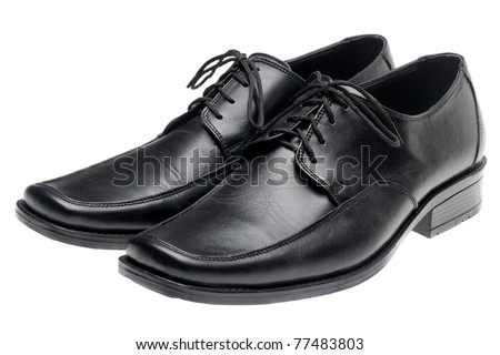 pair man's black shoes isolated on white background