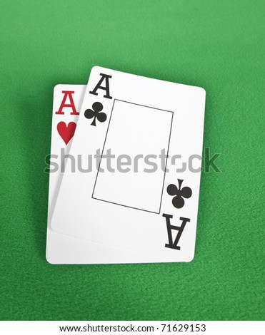 Pair of Ace's, isolated on green
