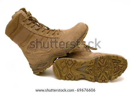 Pair of army boots, a protector on a sole