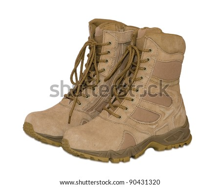 Pair of army boots isolated on a white background