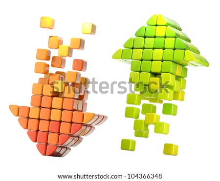 Pair of arrow icon made of glossy cubes isolated on white