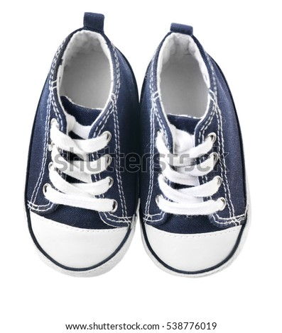 Shutterstock Pair of baby sneakers on white background