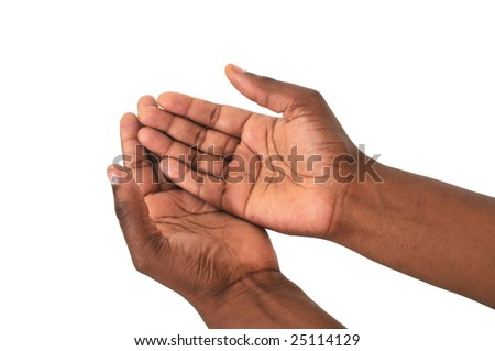 Pair of begging African hands on white background