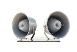 Pair of big retro car roof loudspeakers mounted on wooden plate isolated on white background. Urgent or emergency announcement , message or alert concept
