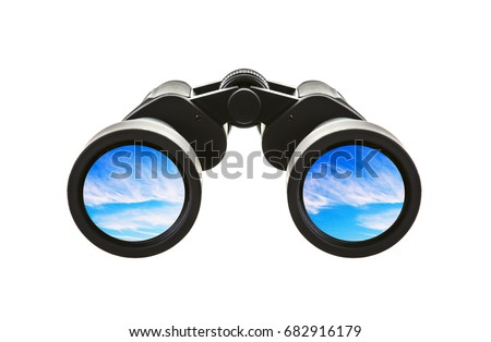 Pair of Binoculars with blue sky on a white background #682916179