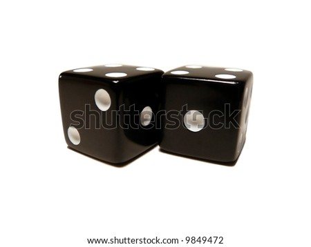 Pair of black dice isolated on a white background